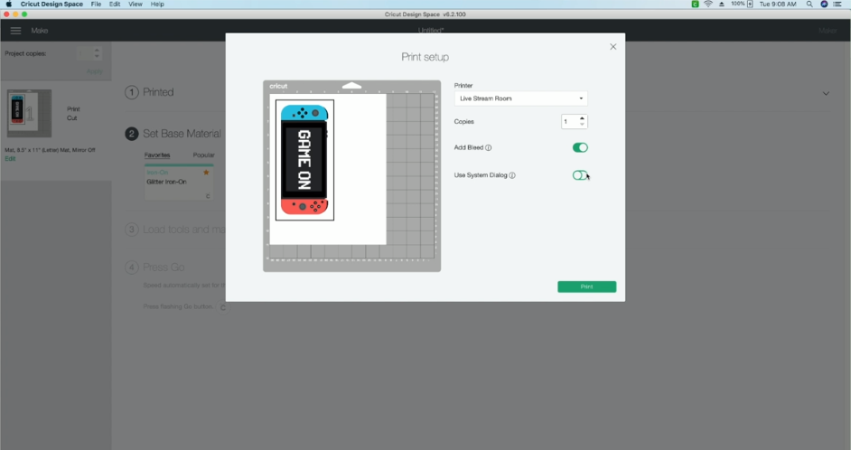 Toggling On Add Bleed And Use System Dialog In The Printer Settings