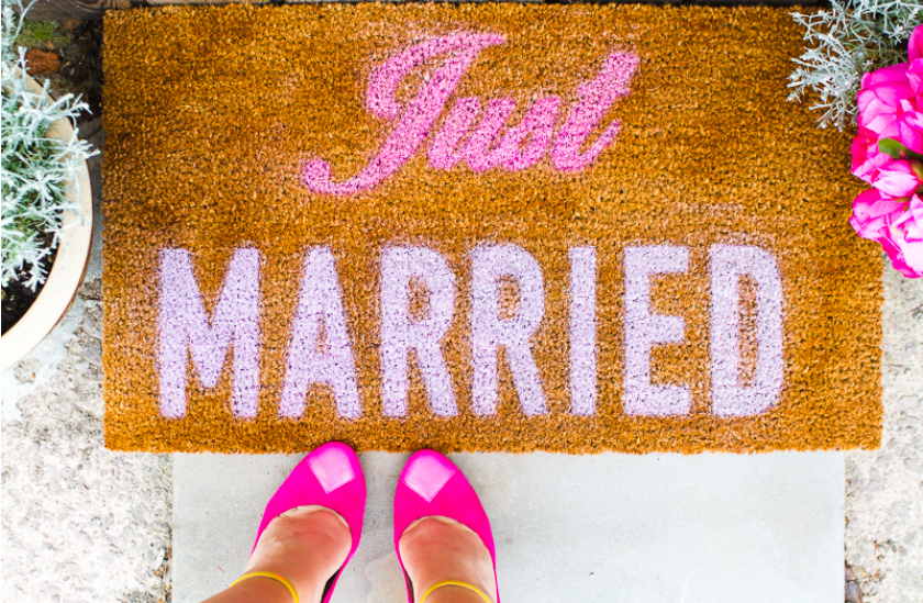 Just Married Door Mat