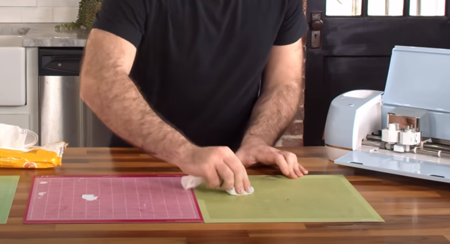 Cleaning Cutting Mats With Baby Wipe