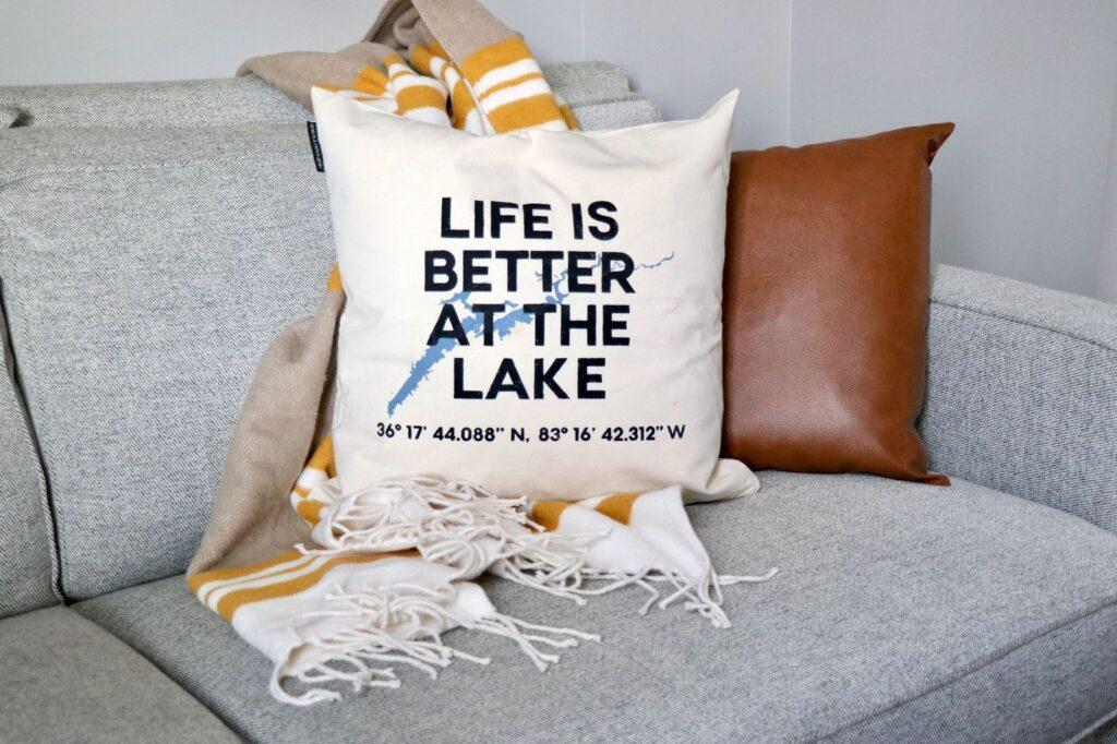 Life is better at the lake with longitude and latitude coordinates throw pillow