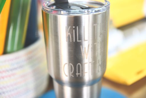 etched stainless steel tumbler