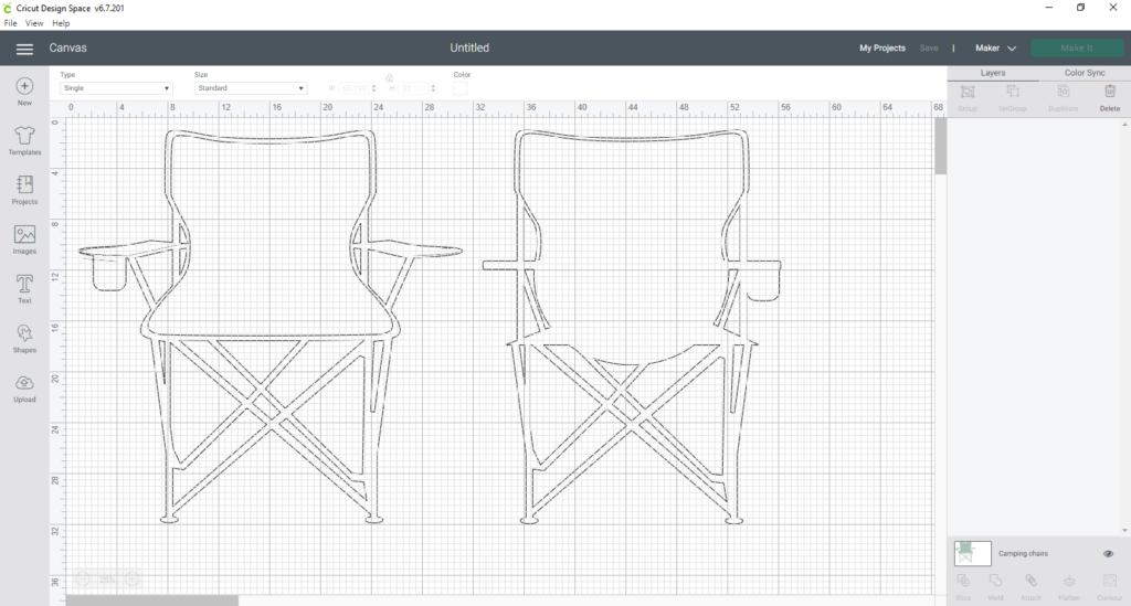 Template Of Camping Chair In Cricut Design Space