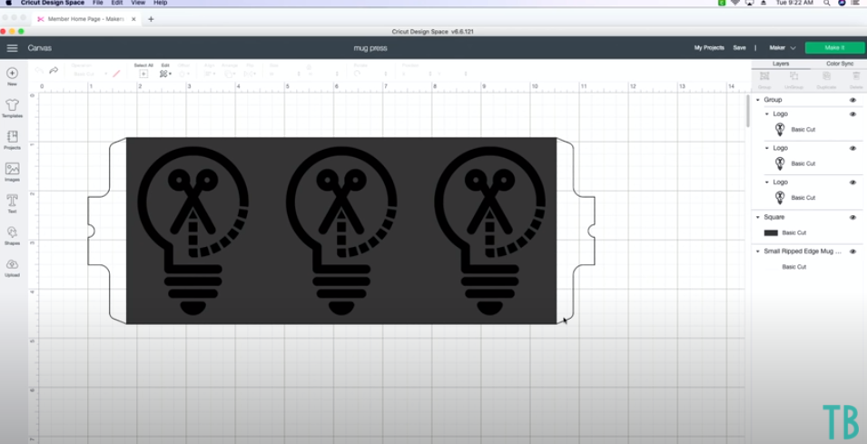 Using Template For Cricut Mug Press To Size Design