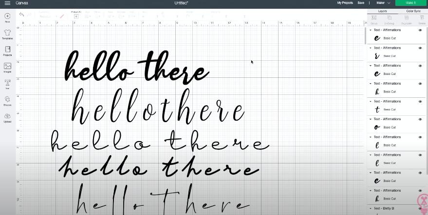 Fully kerned font