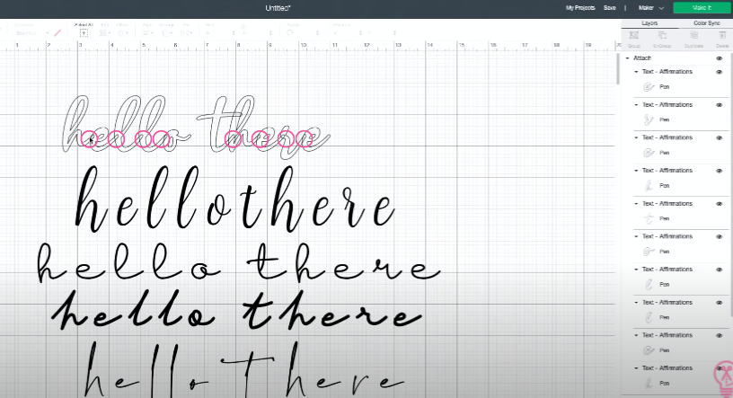 Using draw instead of cut lines to see where kerned fonts overlap