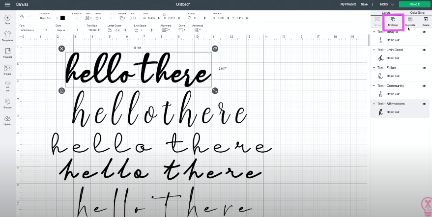 Using Ungroup to be able to move individual letters to kern fonts