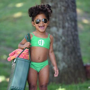Little Girl In Monogrammed Green Bathing Suit