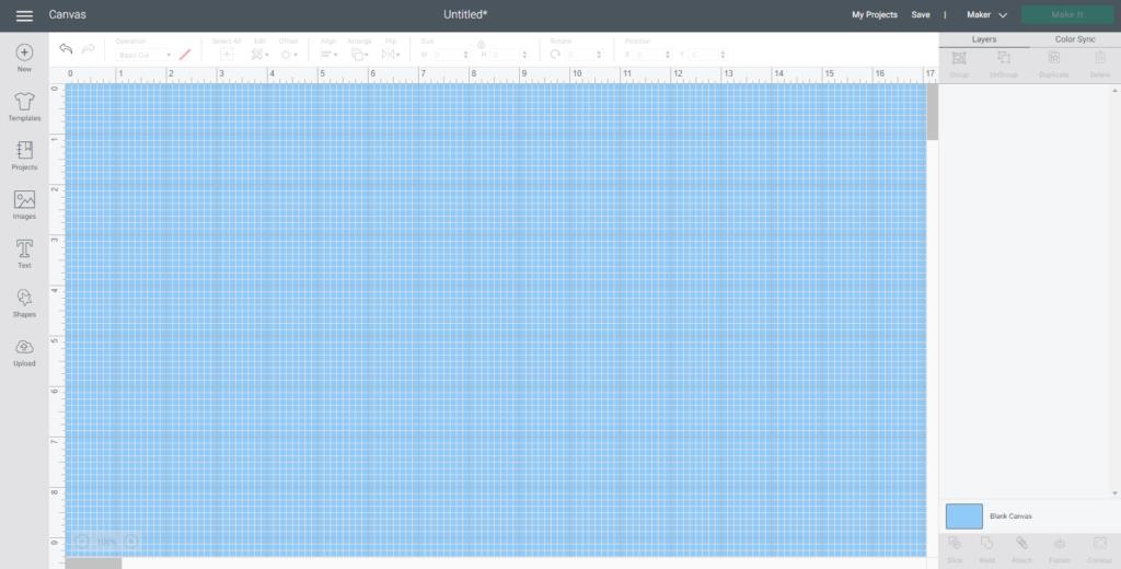 Cricut Design Space canvas changed to a blue color
