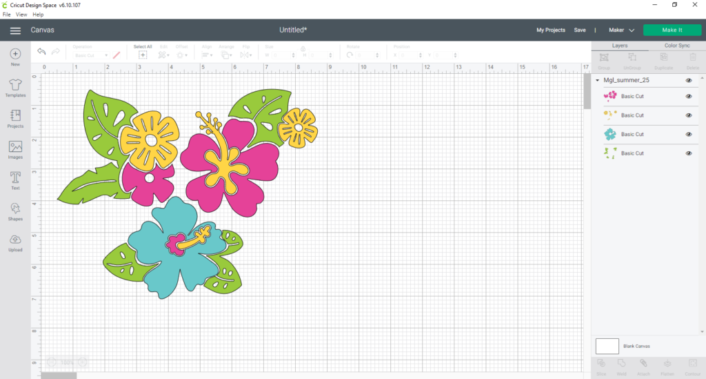Cut File of colorful tropical flowers