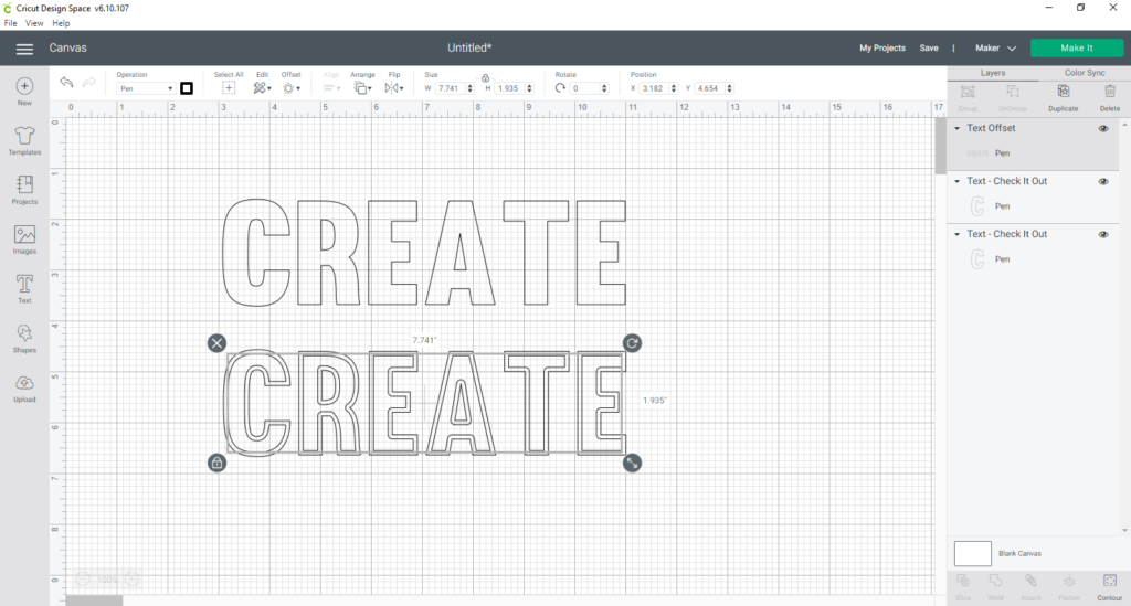 create an inset with the offset tool