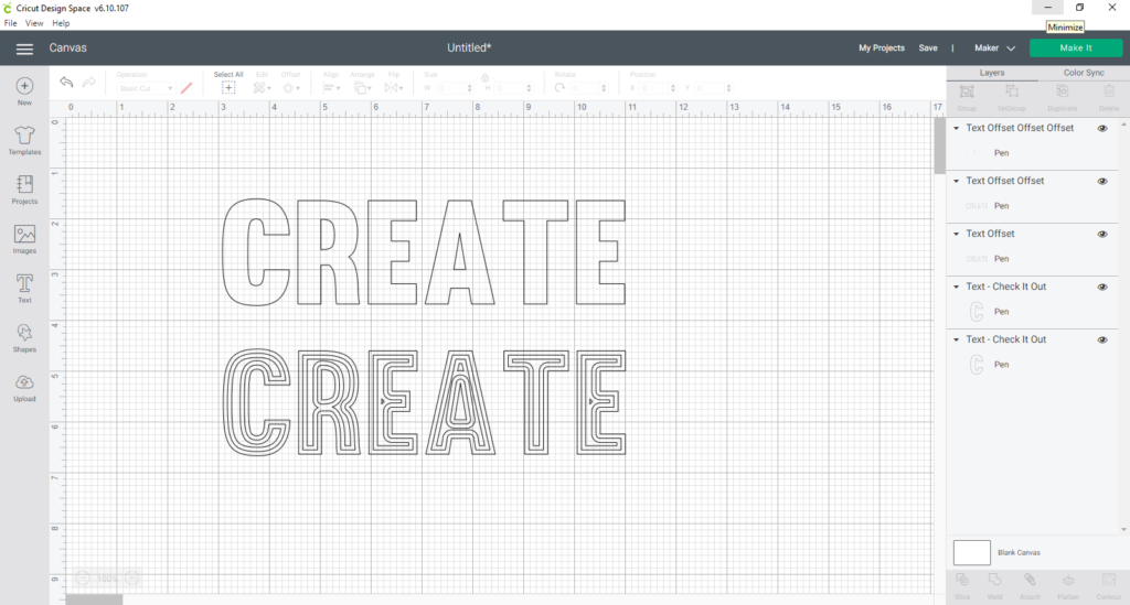continue to create insets until the font is filled in