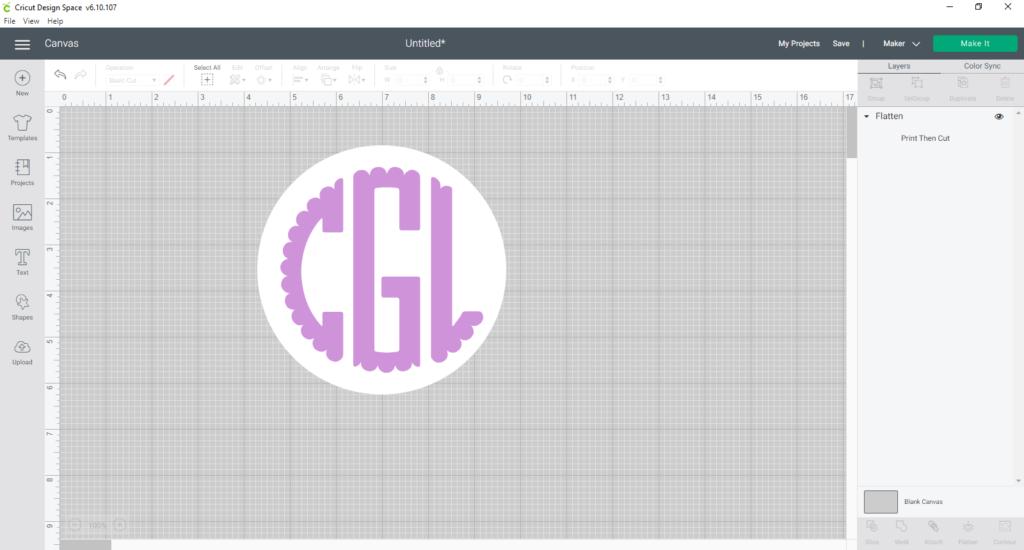 creating monogram labels with monogram and basic circle using Flatten