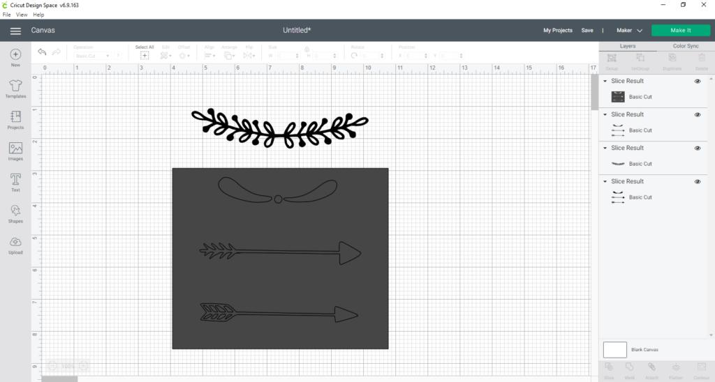 After slicing a design in Cricut Design Space
