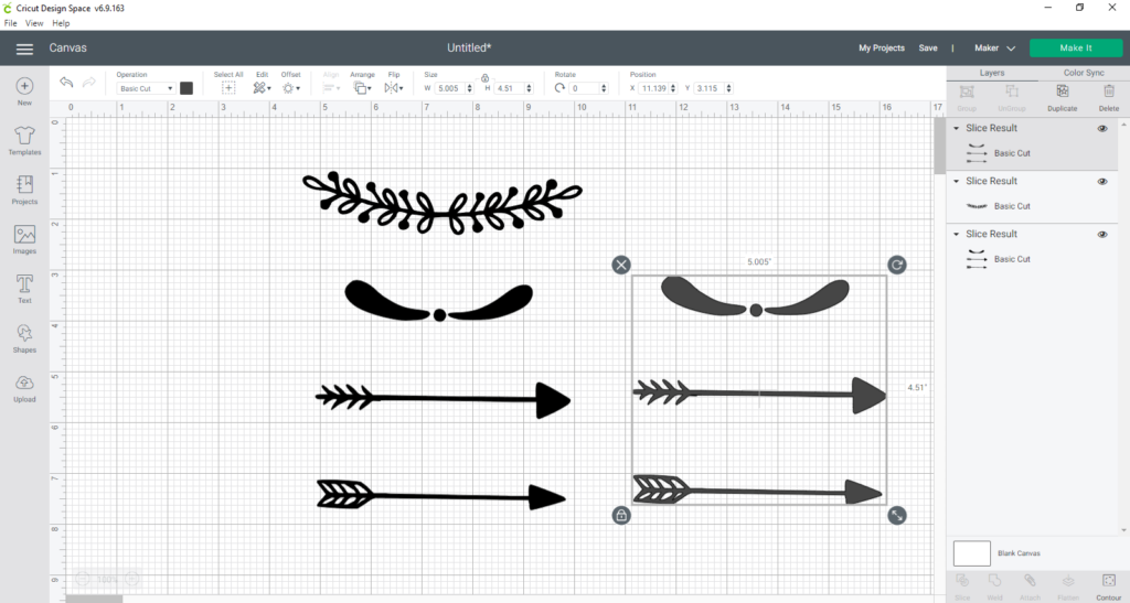 deleting more sliced parts of a design in Design Space