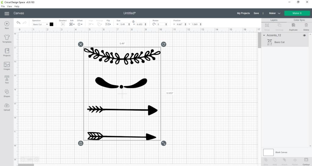 cut file uploaded into cricut design space