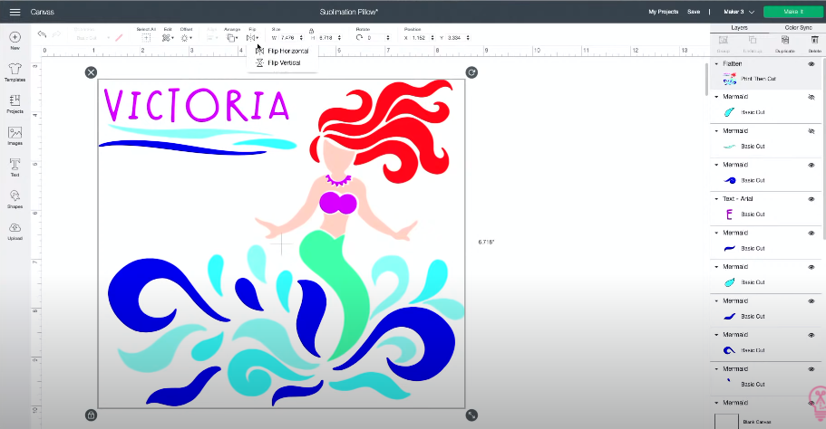 Mermaid Cut File Design With Name