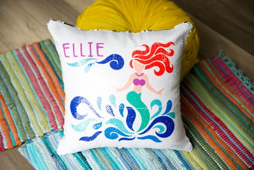 sequin flip pillow made with sublimation