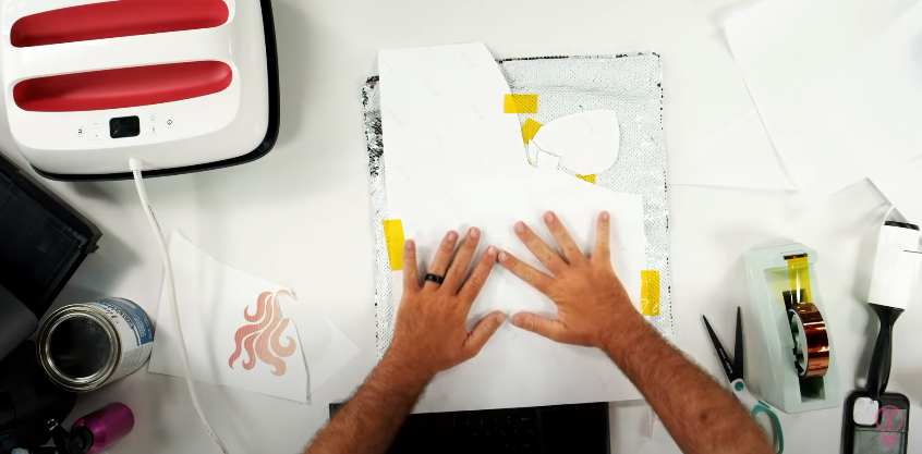 Tape Your Design Down Onto The Pillow Cover