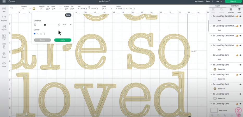 Continue Using Offset Tool Until Letters Are Filled In