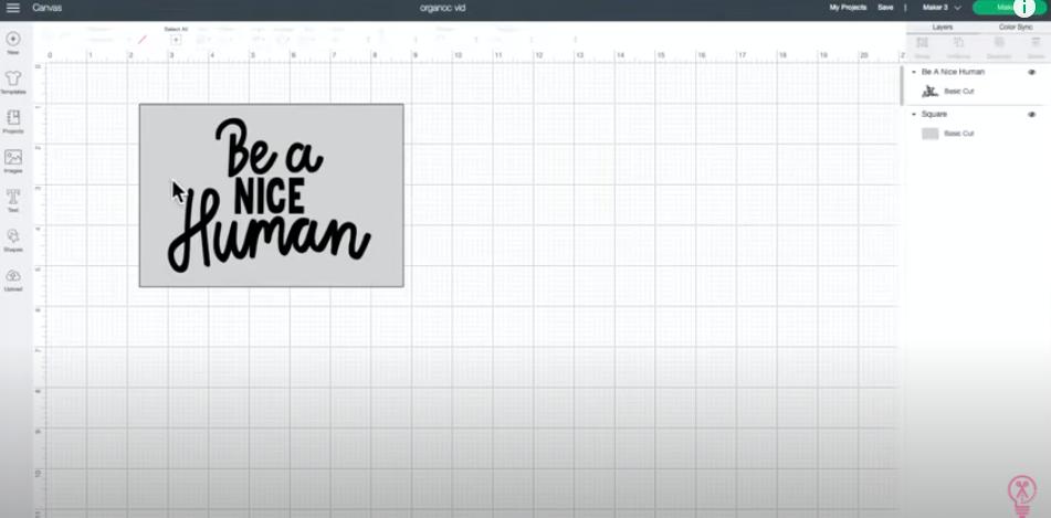 Be A Nice Human Cut File In Cricut Design Space