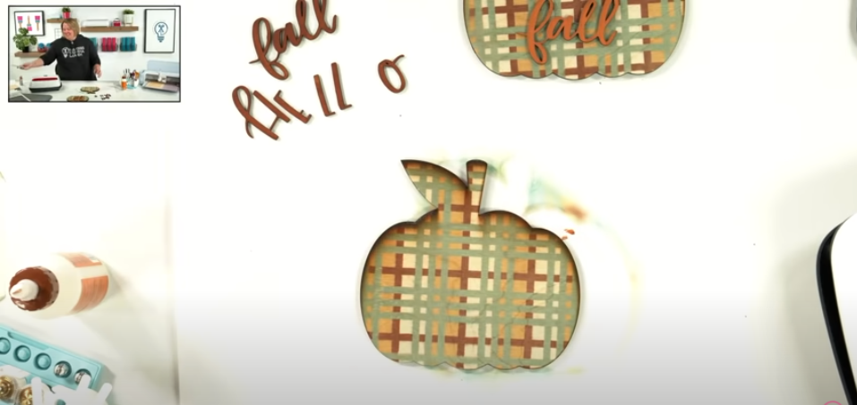 Wooden Pumpkin With Plaid Sublimation Design On It